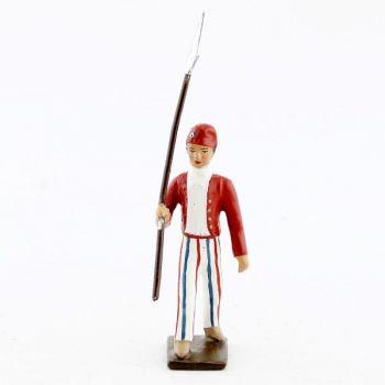 Révolutionnaire, gilet rouge, lance sur l'épaule