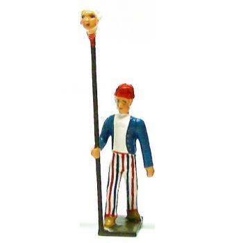 Révolutionnaire, gilet bleu, avec tête d'homme au bout d'une pique