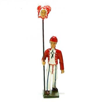 Révolutionnaire, gilet rouge, avec tête de femme au bout d'une pique