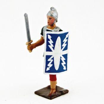 Romain avec glaive et bouclier, uniforme blanc-or-vert-rouge, bouclier foudres