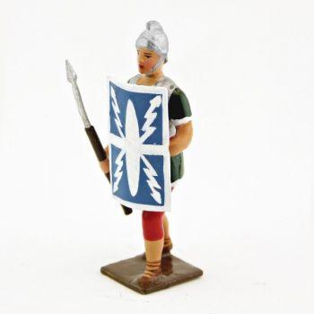 Romain avec bouclier devant, uniforme blanc-or-vert-rouge, bouclier foudres à