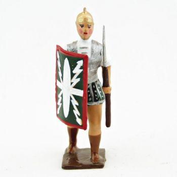 Romain avec bouclier au bras droit et pilum, uniforme blanc-argent-vert , boucli