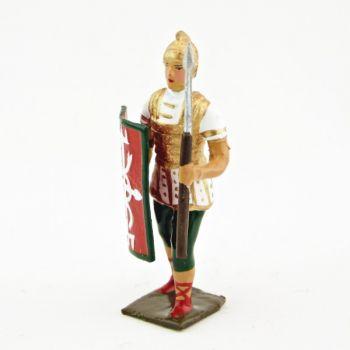 Romain avec bouclier au bras droit et pilum, uniforme blanc-or-vert, bouclier c
