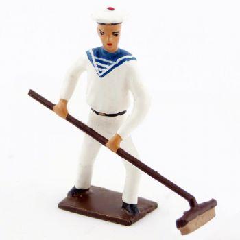 marin avec balai brosse (lave-pont)