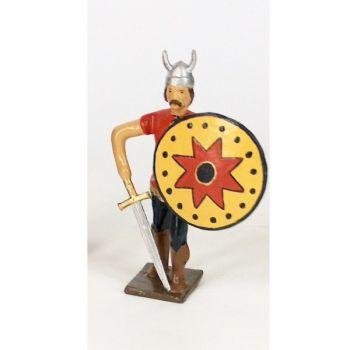 gaulois casque à cornes, avec épée au sol et bouclier