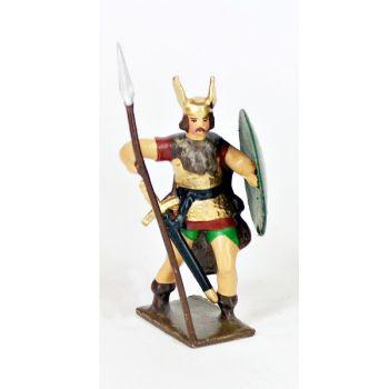 gaulois, casque ailé, avec lance et bouclier