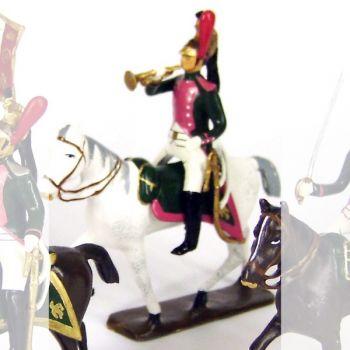 trompette (d'ordonnance) du 17e rgt de dragons (dragons roses) à cheval