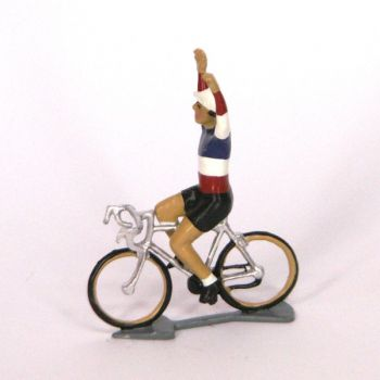Champion de France, bras en l'air