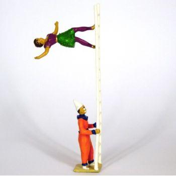 clown avec échelle et danseuse en équilibre