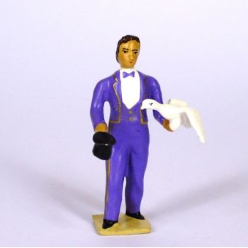 magicien en costume violet, sortant une colombe de son chapeau
