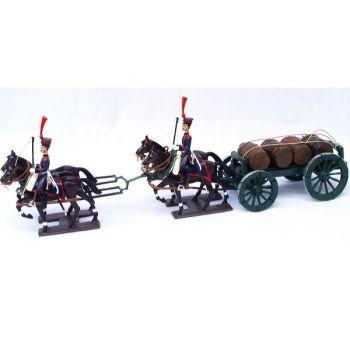 Transport de tonneaux, attelage 4 chevaux