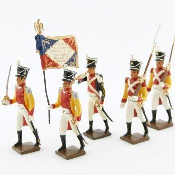 """ensemble de 5 figurines """"bataillon du Prince de Neuchâtel"""""""
