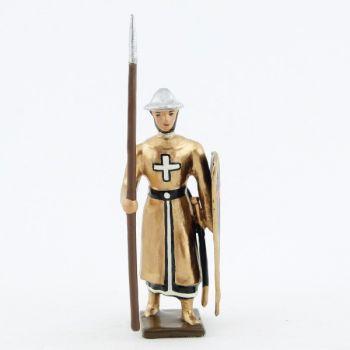"""croisé, cotte dorée, casque plat, avec lance et bouclier """"croix"""""""