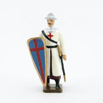 """croisé, cotte blanche, casque plat, avec bouclier """"croix"""" au bras droit"""