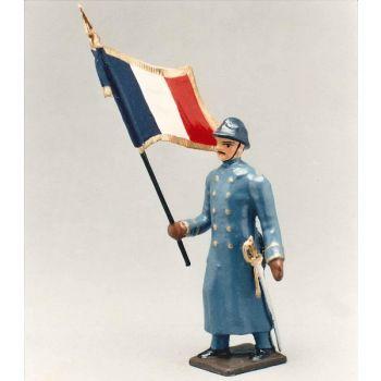drapeau de l'infanterie de ligne en capote bleu horizon