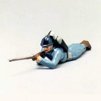 fantassin de l'infanterie de ligne en capote b.h. couché avec fusil en joue