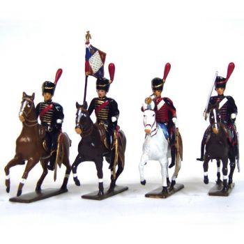 ensemble de 4 cavaliers - artilleurs à cheval (1809)