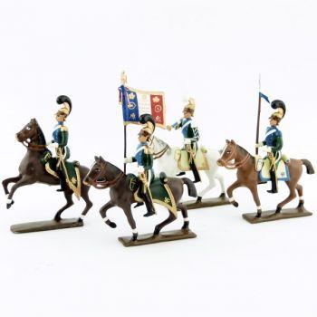 ensemble de 4 cavaliers - chevau-légers 5ème rgt (plastron bleu) (1812)