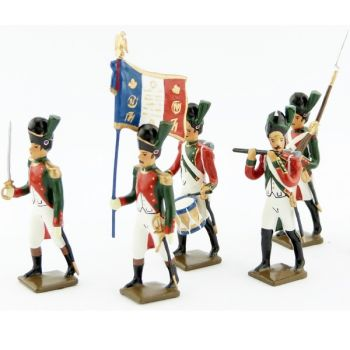 ensemble de 5 figurines - 1er régiment de la Garde de Paris (1803-1809)