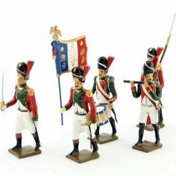 ensemble de 5 figurines - 2e régiment de la Garde de Paris (1803-1809)
