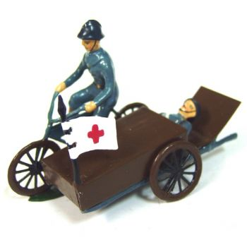 Motocycliste Sur Side-Car Ambulance