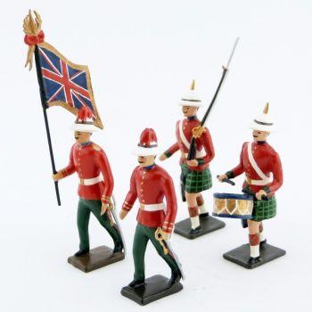 """ens. de 4 figurines """"troupes coloniales écossaises à Durbar"""""""