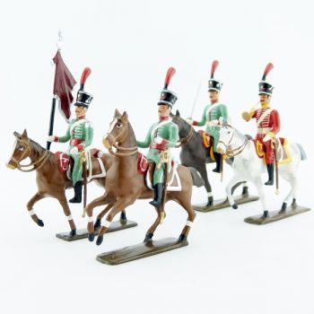 Hussards espagnols (1808), ensemble de 4 figurines à cheval