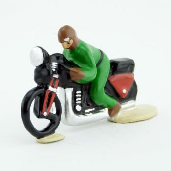 motard sur moto (pièce monobloc), verte
